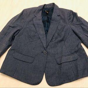 Lane Bryant Dark Blue Denim-like One Button Blazer